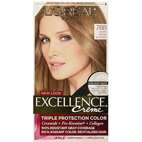 L'Oreal Paris Excellence Creme [7BB] Dark Beige Blonde Haircolor, 1 ea (Pack of 3)