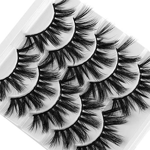 Multilayers 5D Mink Hair False Eyelashes Natural Long Wispies Flfuffy Eyelashes Extension Full Volume thick Eye Makeup (30 pairs 6 styples)