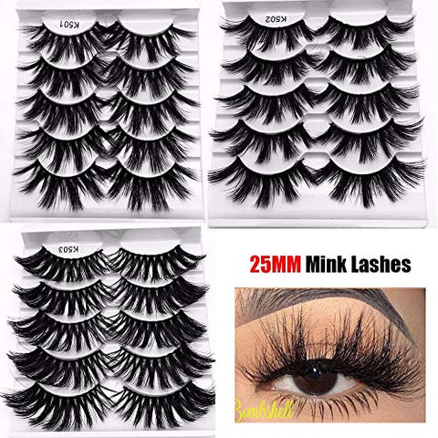 Multilayers 5D Mink Hair False Eyelashes Natural Long Wispies Flfuffy Eyelashes Extension Full Volume thick Eye Makeup (15 pairs 3 styples)