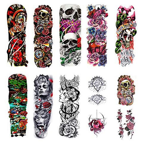Lady Up 12 Sheet Full Arm Temporary Tattoos for Women Men, Body Art Black Tattoo