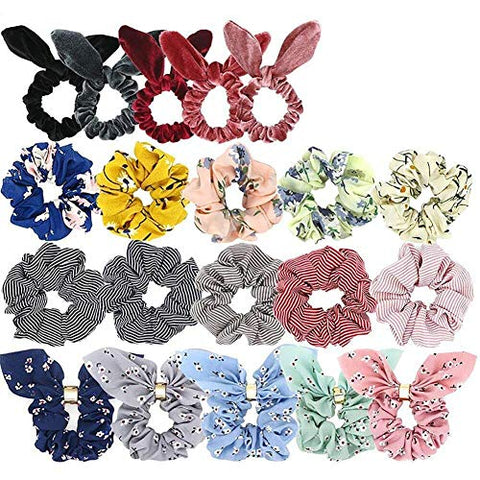 Aovie 20 Pcs Velvet Silk Satin Chiffon Hair Scrunchies Hair Band for Woman or Girls