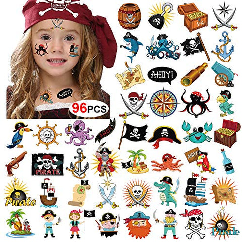 Pirate Tattoos(96Pcs), Konsait Pirate Temporary Tattoo Fake Neverland Pirated Cannon Powder Jake Captain Tattoo Body Sticker for Pirate Birthday Party Favors Supplies Kids Boys Girls Party Bag Filler