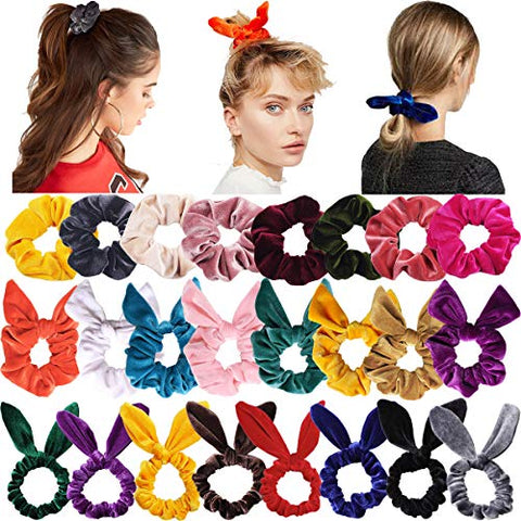 24PCS Hair Scrunchies Rabbit Ears Bow Knotted Scrunchies Velvet Hair Bow Elastic Hair Ties Ponytail Holders Hair Accessories for Girls Women Teens