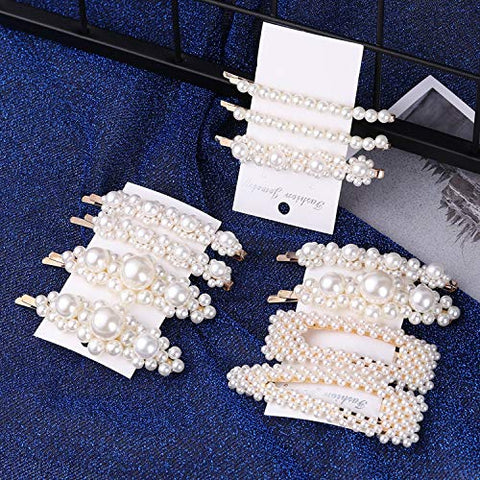 1 Set Solid Pearl Hair Clips for Women Hair Barrette HairpSnap Barrettes Trendy Handmade Hair Styling Accessories,06