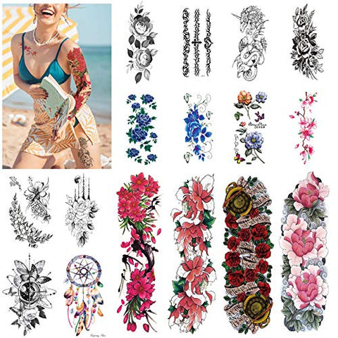 Flowers Tattoos Temporary for Women and kids (16 Sheets),Womens Sleeve Temporary Tattoo Waterproof and Long-Lasting, Beautiful Full Arm and half Arm Fake Tattoos