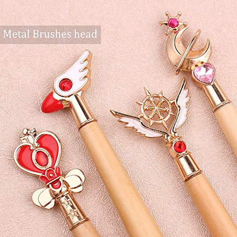 Bamboo Handle Makeup Brush Tool Sailor Moon/Cardcaptor Sakura Makeup Brushes Metal Brush Head Pink Soft Hair Pinceaux Maquillage (Moon)