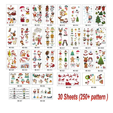 Christmas Tattoos for kids 30 Sheets Cute Pattern Santa Claus Temporary Tattoo Face Stickers Waterproof Xmas Party Favor Supplies Pack for Child Xmas Gifts