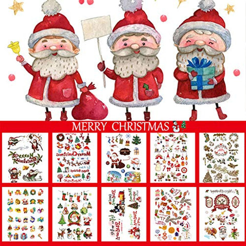 CARGEN 10 Sheets Children Temporary Tattoo Arm Hand Fake Tattoos Body Art Sticker Sets Santa Claus Socks Tree Graphic for Christmas Party Decorations