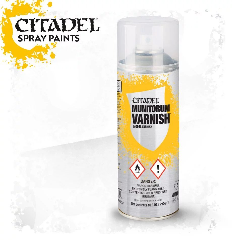 CITADEL SPRAY PAINT: MUNITORUM VARNISH SPRAY | Boss Minis