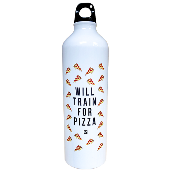 """Will Train for Pizza"" Water Bottle"