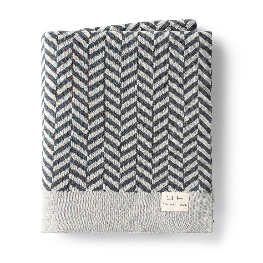 DH Herringbone Throw Gray