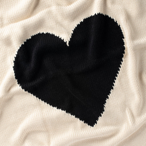 DH Heart Natural/Black Baby Blanket