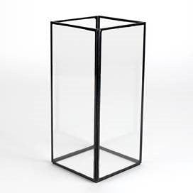 Factor Tall Glass Vase with Black Trim