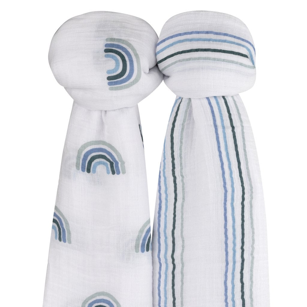 Blue Rainbow Swaddle Set