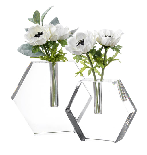 Tizo Crystal Hex Glass Bud Vase