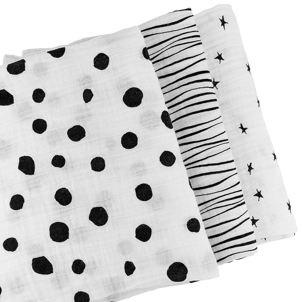 B&W Abstract Swaddle Blanket Set