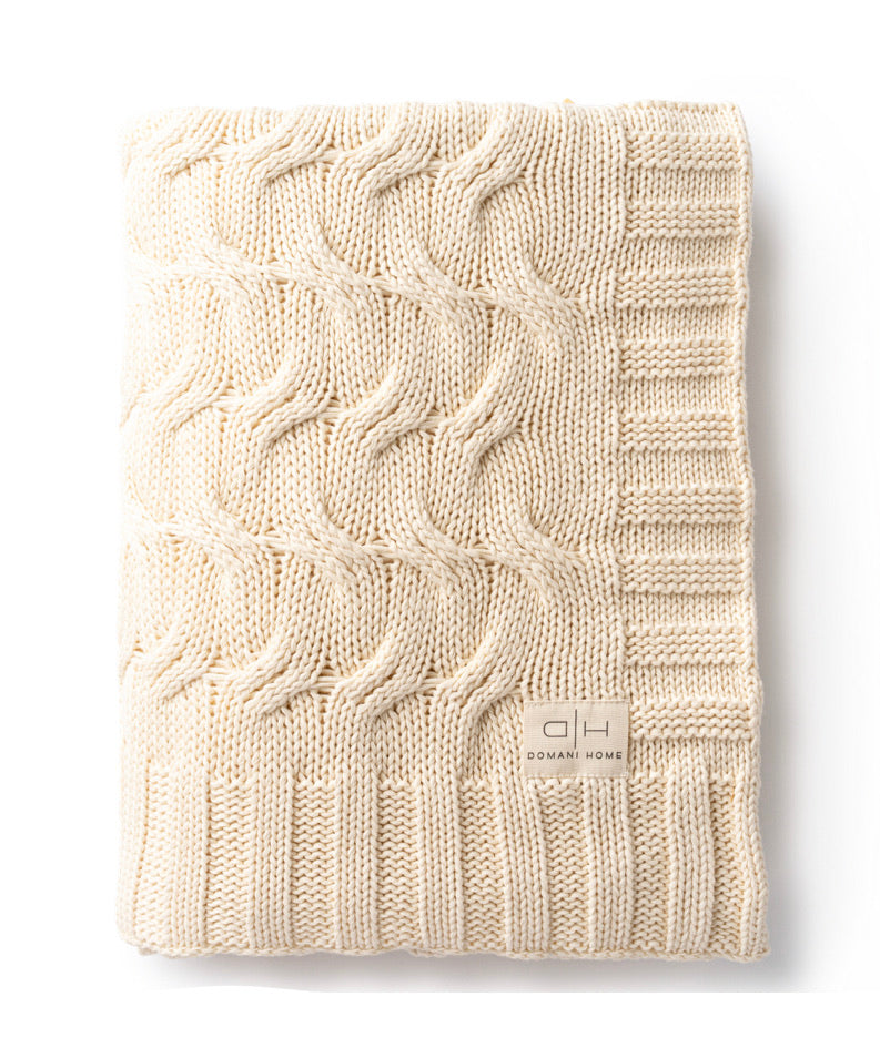 DH Ivory Cable Knit Throw