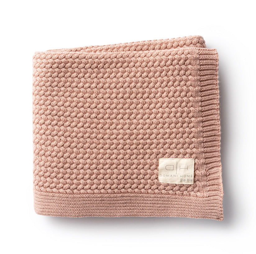 DH Herringbone Blush Baby Blanket