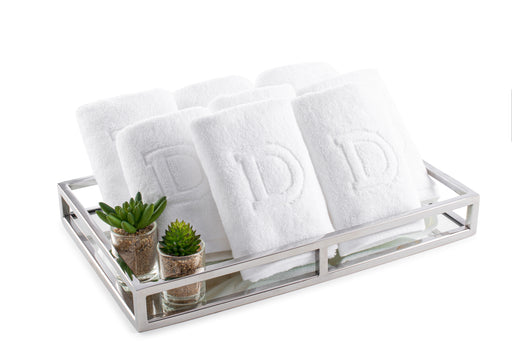 Monogrammed Towels On Mirror Tray Gift Set