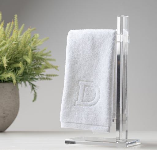 Matouk Monogrammed Towels On Acrylic Towel Stand
