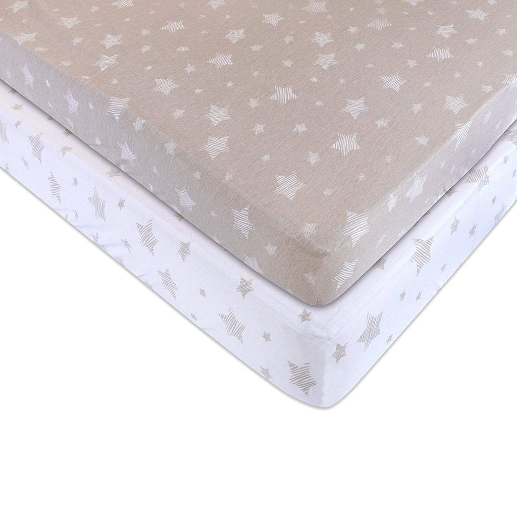 Tan Drawn Star Crib Sheet Set