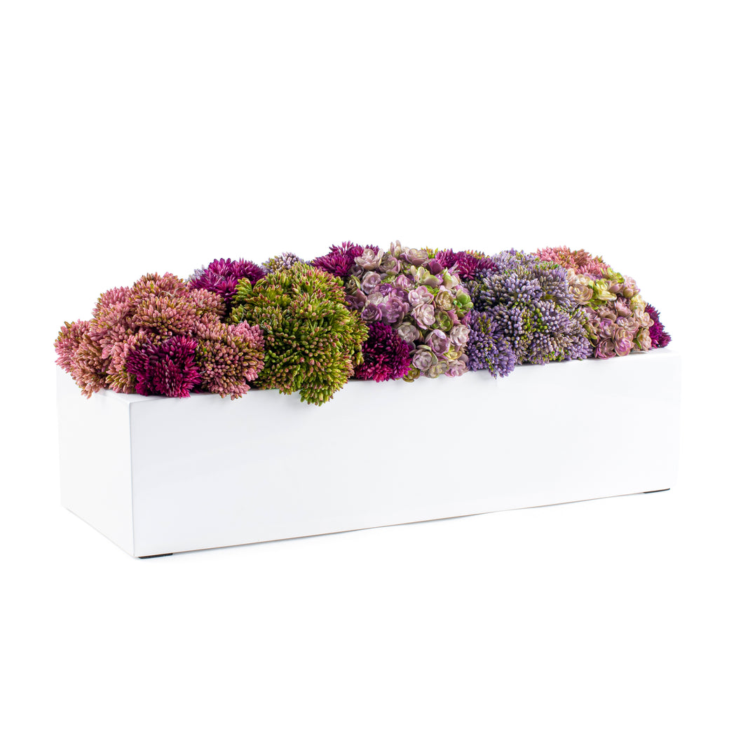 Floral White Rectangular Pot