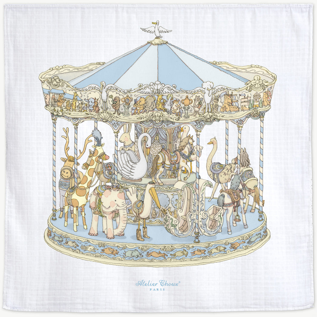 Atelier Choux Blue Carousel Swaddle Blanket