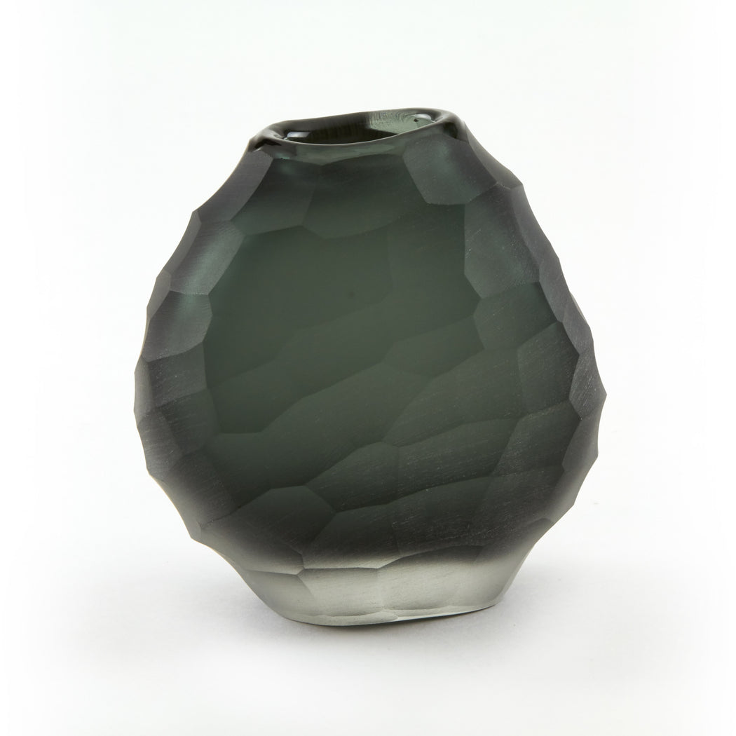 Gray Hammered Glass Vase