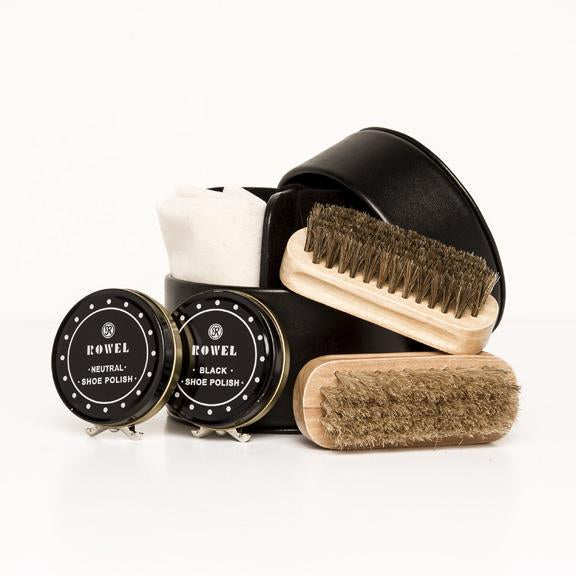 Shoe Shine Kit With Leather Case