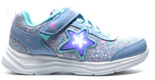 Load image into Gallery viewer, Skechers Girls Toddler' Flex Play-Glitter Sunrise Sneaker- Blue/Hot Pink