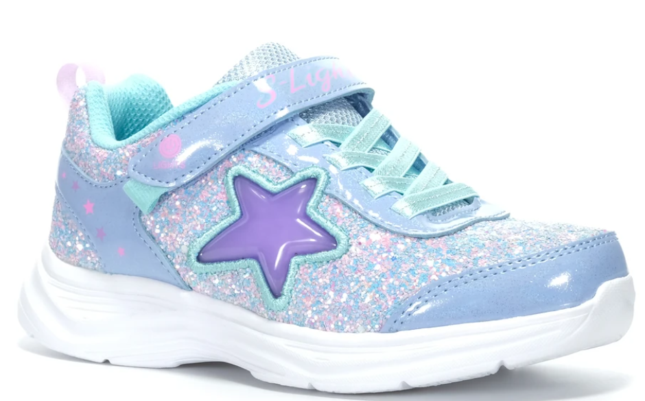 Skechers Girls Toddler' Flex Play-Glitter Sunrise Sneaker- Blue/Hot Pink