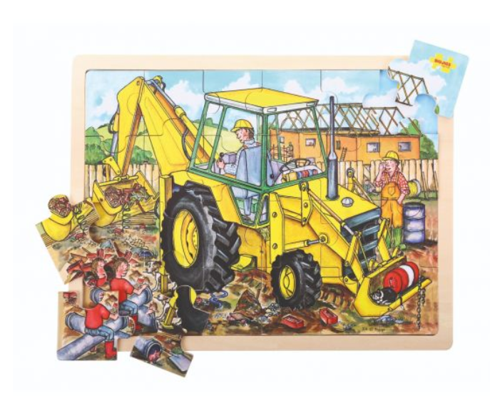 BIG CHUNKY WOODEN JIGSAW PUZZLE - DIGGER