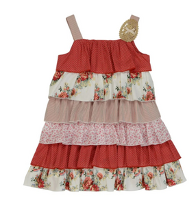 ARTHUR AVENUE RED FLORAL LAYERED DRESS