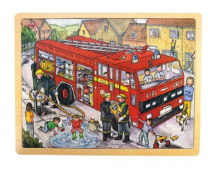 BIG CHUNKY WOODEN JIGSAW PUZZLE - FIRE ENGINE