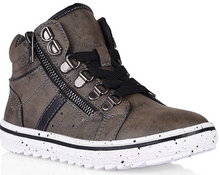 Load image into Gallery viewer, Archie Lace high top boot- Khaki/Black - Grosby Kids