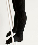 LAMINGTON- Merino Wool Cable Tights | BLACK CABLE