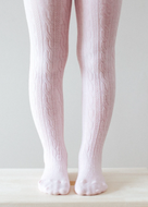 LAMINGTON Merino Wool Cable Tights |  CHERRY BLOSSOM