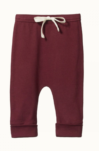 DRAWSTRING COTTON PANTS- ELDERBERRY 3-6m & 6-12m