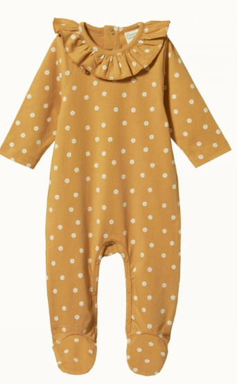 RUFFLE FLORENCE ALL IN ONE BODYSUIT- CHAMOMILE STRAW PRINT 3-6m & 6-12m