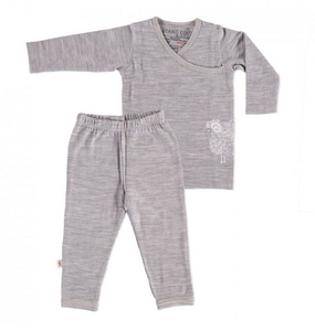 MERINO KIDS 100% MERINO PYJAMAS (AORAKI GREY/SHEEP) SIZE 12-24 MONTHS