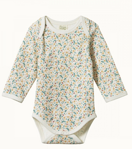 LONG SLEEVE COTTON BODYSUIT- JUNE'S GARDEN PRINT 0-3m & 3-6m