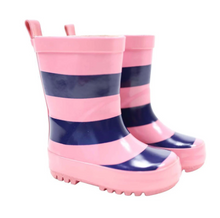 Load image into Gallery viewer, Rainwear Gumboot Pink/ Navy Stripe