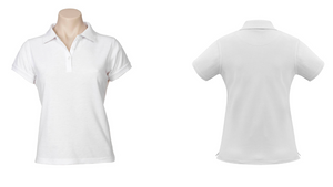 Ashburton College- Summer Uniform- White Fitted Polo Top- Girls
