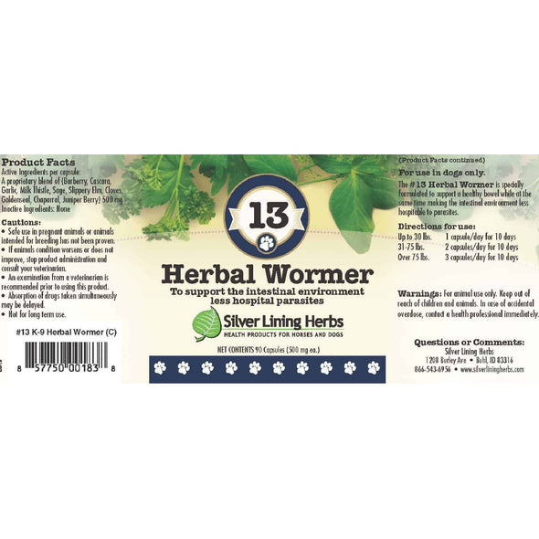 Silver Lining Herbs 113 Herbal Wormer Formula for Dogs, image label