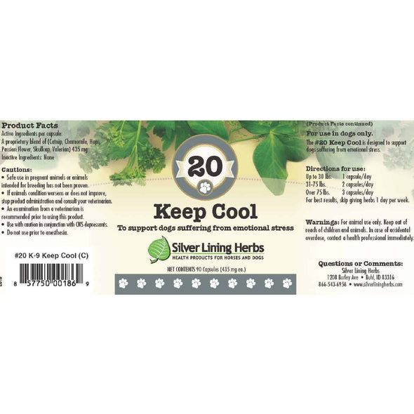 Silver Lining Herbs 20 Keep Cool Supplement for Dogs, label image