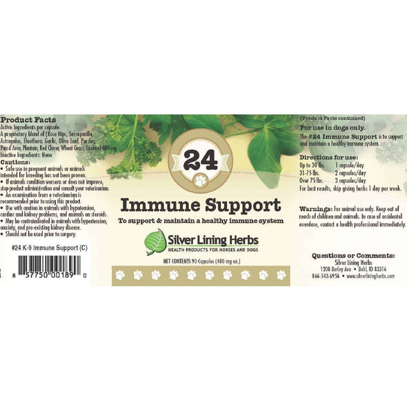 24 Immune Support Supplement for Dogs, label