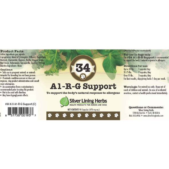 Silver Lining Herbs 34 Al-R-G Support Allergy Supplement for Dogs, label image