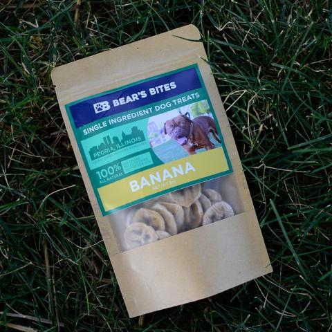 Bear's Bites Banana treats for Dogs, front of product