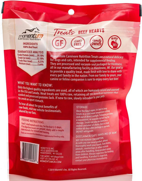 Momentum Beef Hearts Freeze Dried Dog & Cat Treats, back image