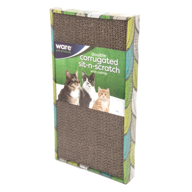 Corrugated sit-n-scratch with catnip